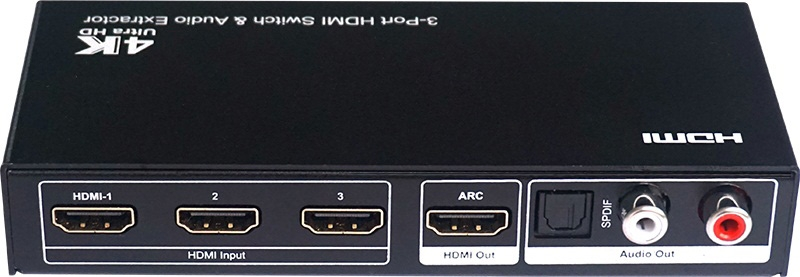 3x1 HDMI Switch with Audio extraction Support Ultra HD 4K