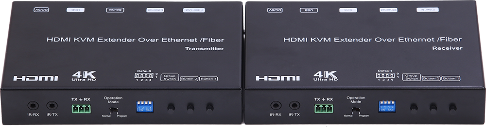 4K HDMI+USB KVM Extender over IP/Fiber