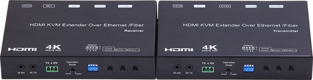 4K HDMI+USB KVM Extender over IP/Fiber, with POE