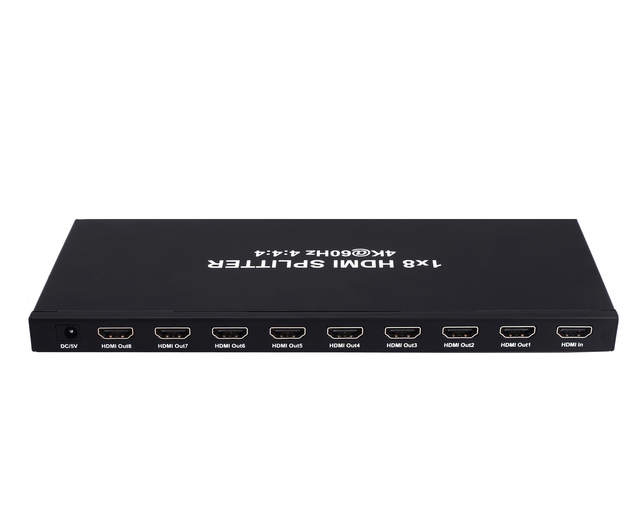 1x8 HDMI Splitter, HDCP2.2, Supports 3D, 4Kx2K@60Hz(YUV 4:4:4), 18G, HDR, EDID