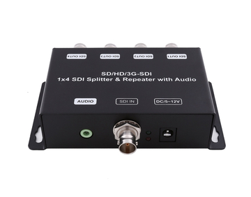 1x4 3G SDI Splitter & Repeater with audio extraction