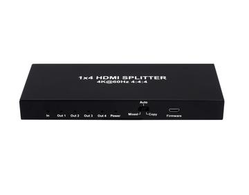 1x4 HDMI Splitter, HDCP2.2, Supports 3D, 4Kx2K@60Hz(YUV 4:4:4), 18G, HDR, EDID