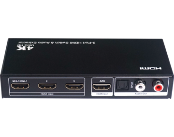 3x1 HDMI Switch with Audio extraction Support Ultra HD 4K, ARC, CEC