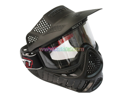 Black Paintball Scott Mask with Anti Fog Thermal Goggles
