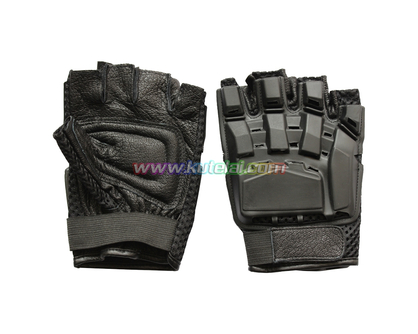Black Tactical Airsoft Armed Protection Half Finger Paintball Gloves